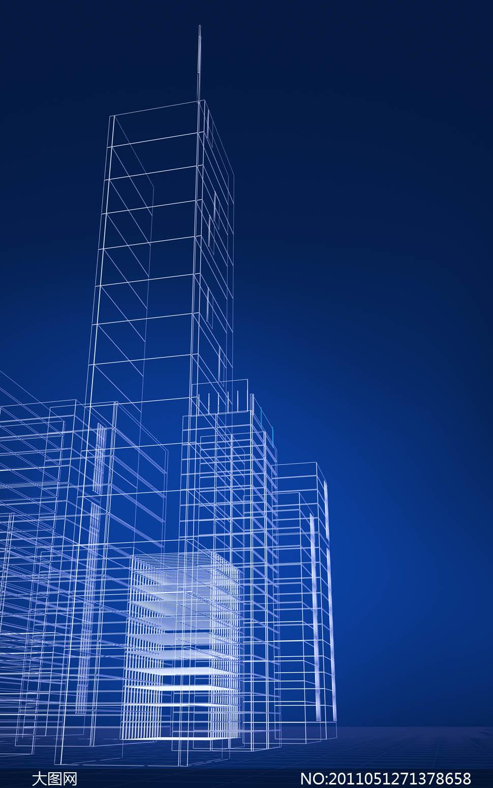 城市建筑物线条轮廓图片素材