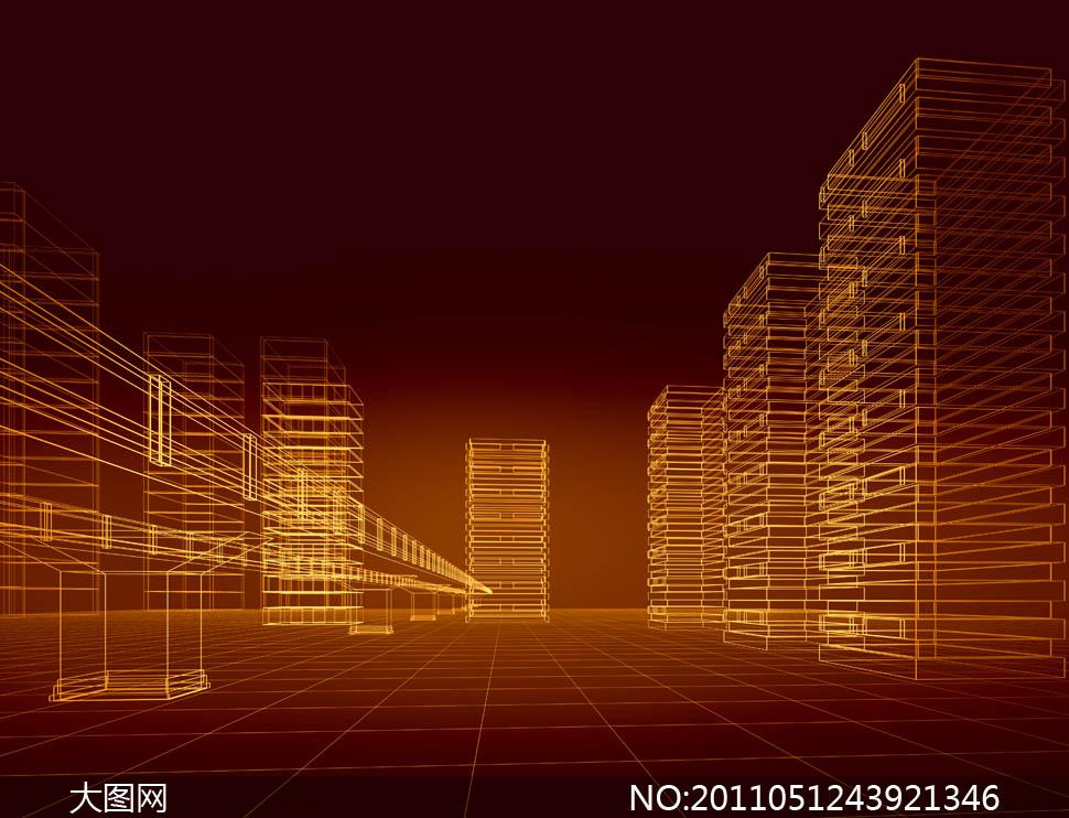 建筑物3d格子抽象房子金色框架线条货物合剂草图图纸黄色v格子图纸结构炼金立体橙色三星图片