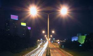 城市道路夜景创意摄影图片