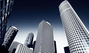 城市办公楼广角镜头高清图片