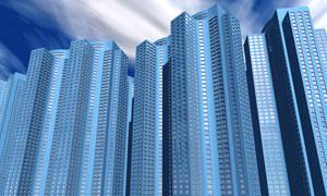 蓝天白云与蓝色建筑物图片