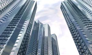城市建筑物广角镜头摄影图片