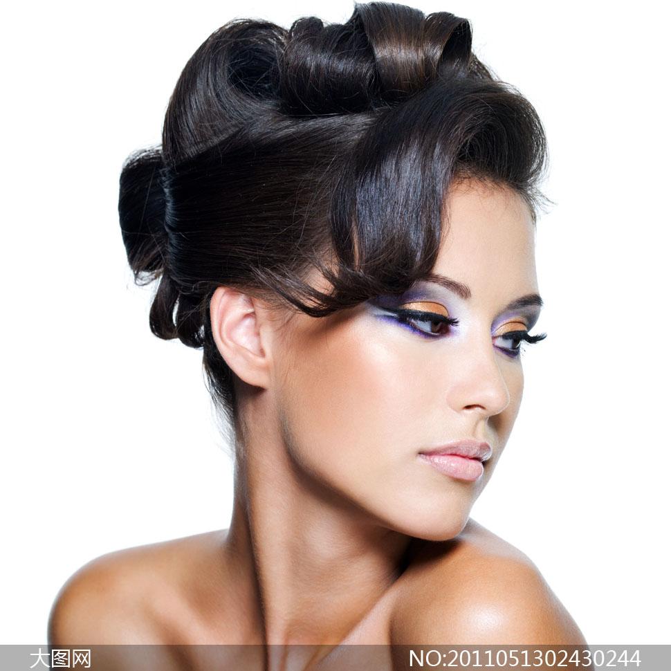 高清图片摄影图片美女发型秀发国外外国化妆