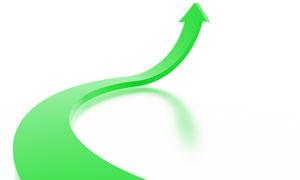 向上翘的绿色箭头高清图片