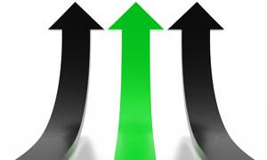 绿色和黑色上翘立体箭头图片