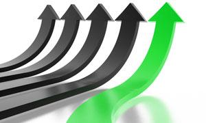 绿色与黑色弯曲向上箭头图片