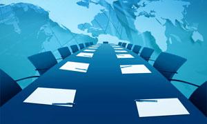 会议室与世界地图高清图片