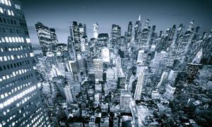 曼哈顿城市商业区夜景
