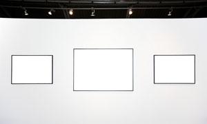 展览馆墙壁上画框高清图片