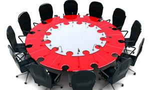 圆桌会议与拼图图案高清图片