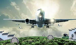 飞机空中飞翔地产广告设计PSD素材