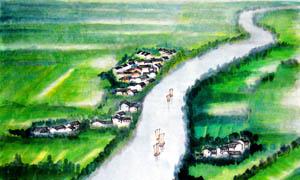 水乡人家中国风绘画图片