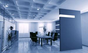 蓝色色调会议室高清图片