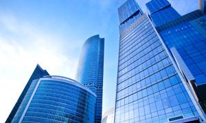 蓝色城市建筑物摄影高清图片