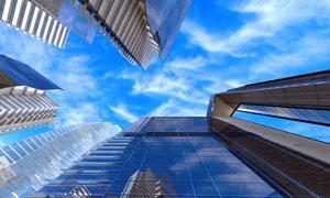 蓝天白云城市建筑物高清摄影图片