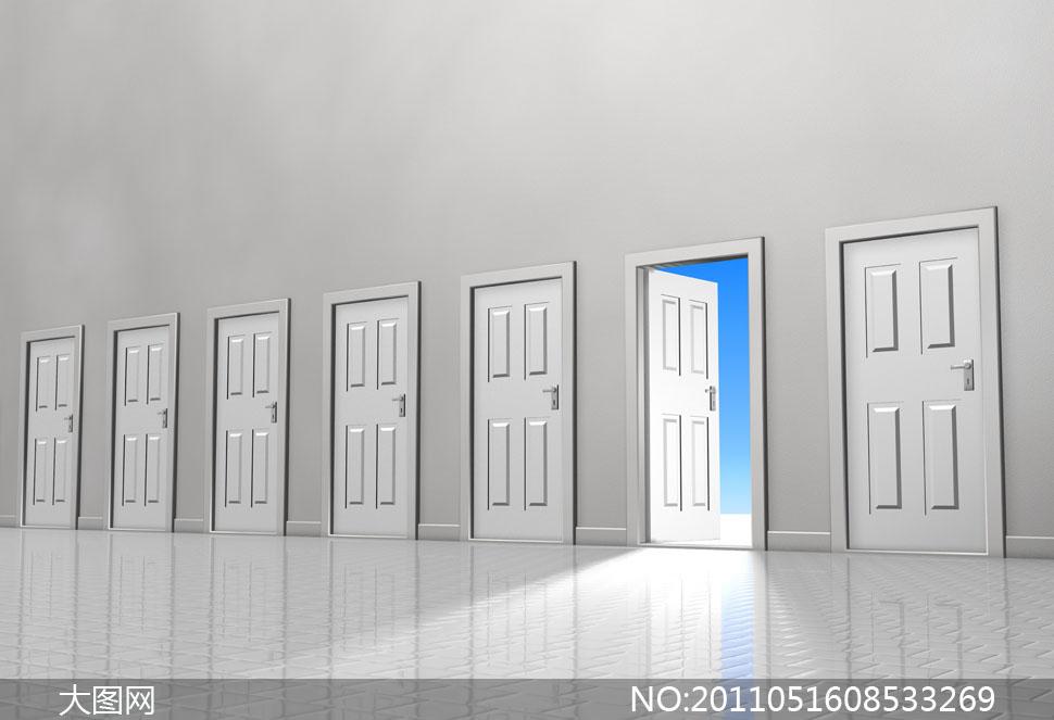 室内户内空间塑钢门铝合金门明亮透光照射光线蓝色银色灰色银灰色阳光