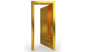 开着的金黄色大门高清图片