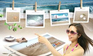 沙滩贝壳相框与美女人物PSD分层素材