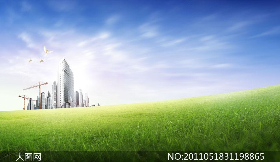 建筑工地草地与飞翔白鸽psd分层素材