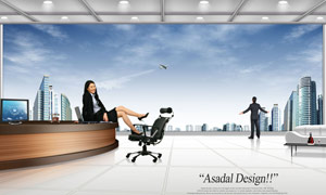 办公室前台吧台与职场人物PSD分层素材