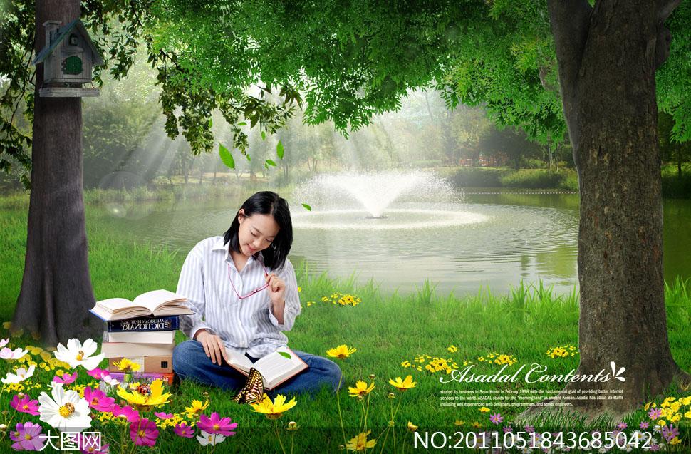 韩国人物女性女人美女自然风景风光植物草地绿地大树