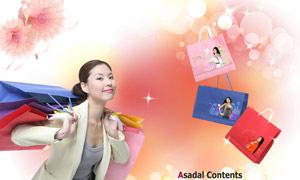 韩国美女与购物袋PSD分层素材