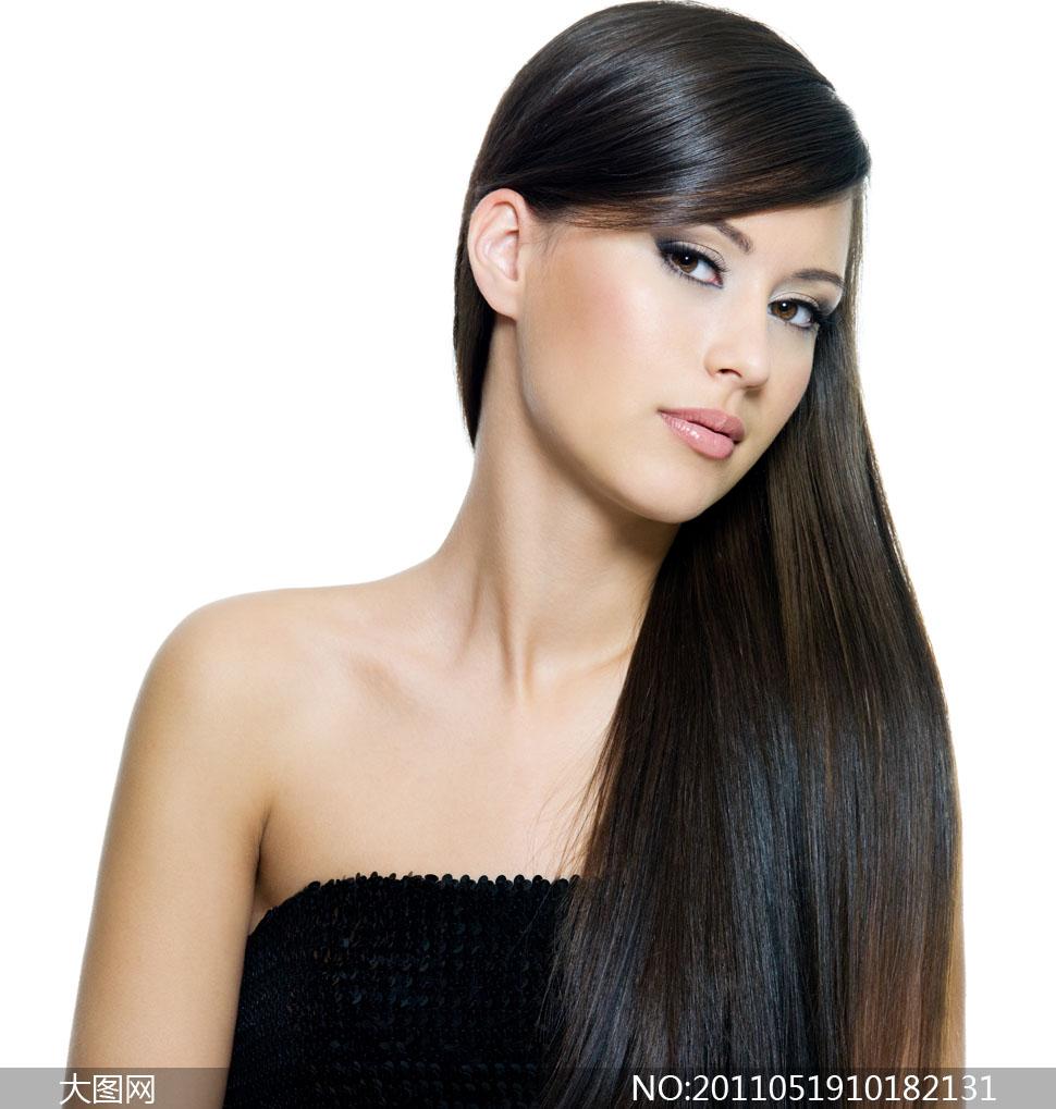 美女黑色秀发高清摄影图片