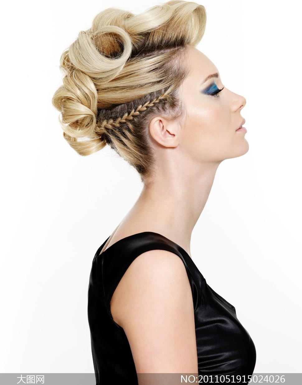美女人物盘发侧面高清摄影图片