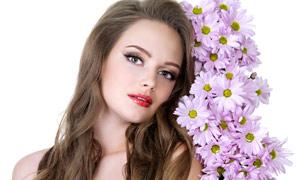 美女人物发型与鲜花高清摄影图片