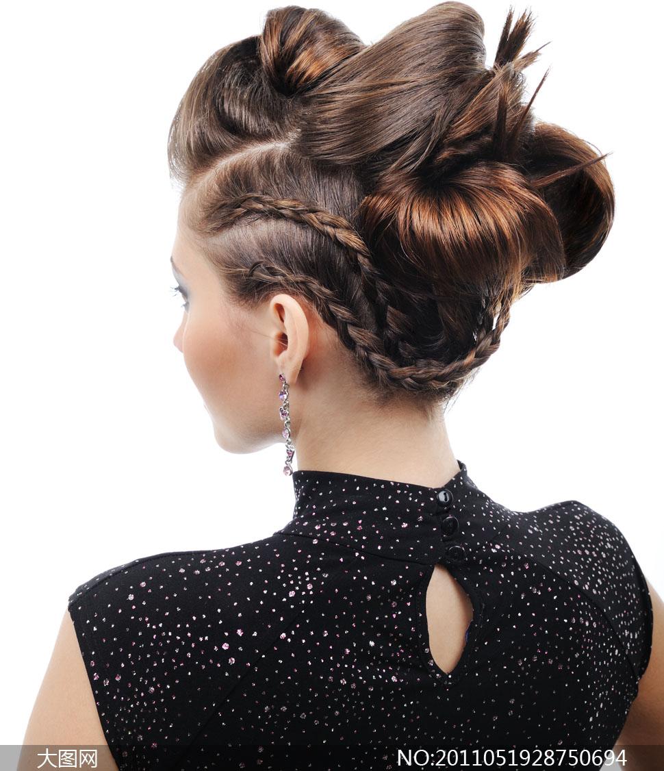 人物盘头发型后视高清摄影图片