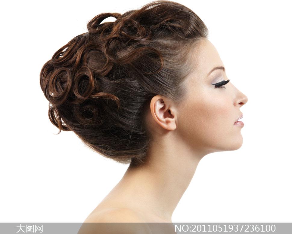 美女盘头发型侧面高清摄影图片图片