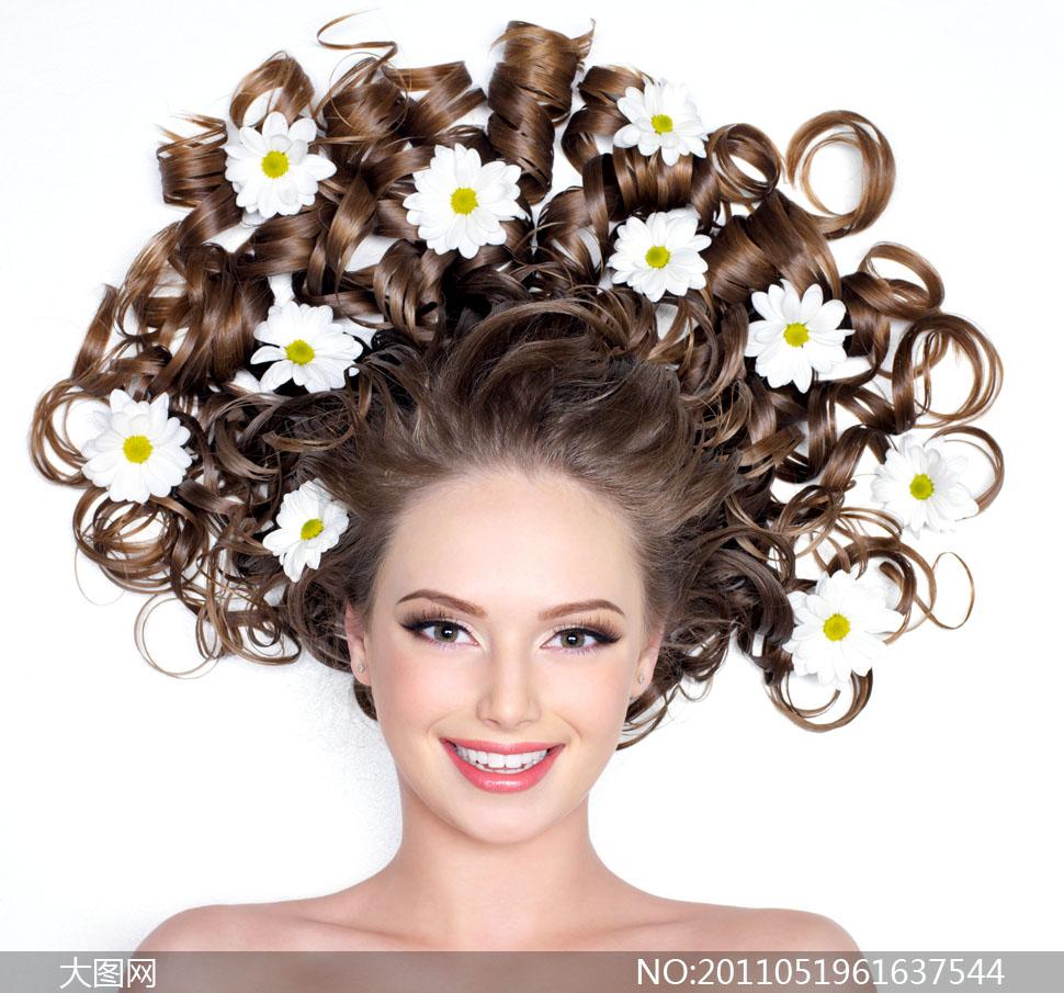 人物人像写真美女女性女人头发发型美发创意女人花鲜花花朵花卉卷发sh