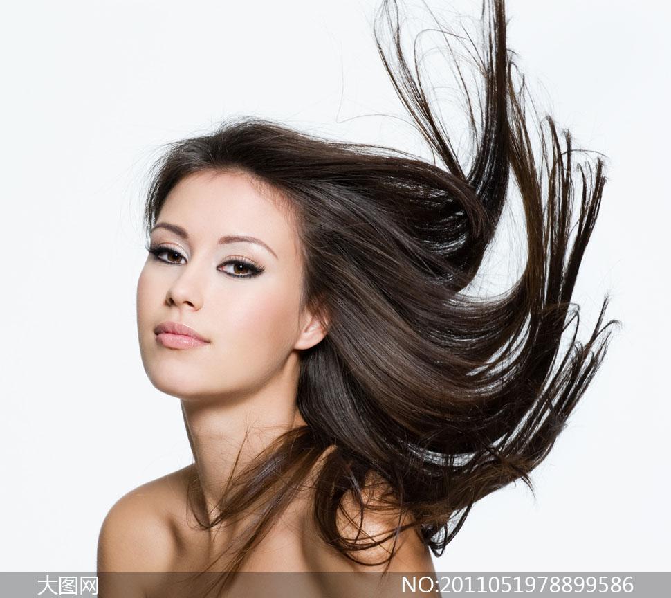 美女女性女人头发发型美发黑亮长发飘逸黑色shutters