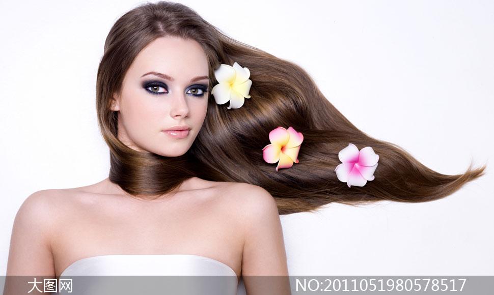 美女女性女人头发发型美发长发飘逸花朵花卉鲜花女人