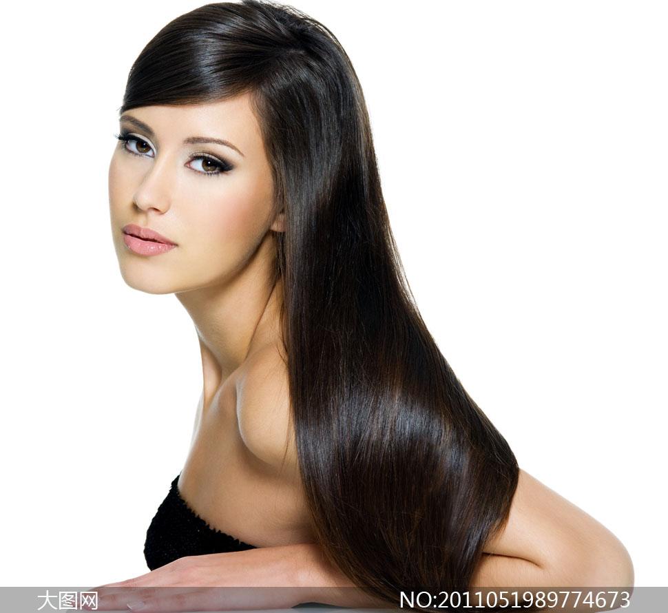柔顺黑亮长发美女人物高清摄影图片 大图网设计素材下载