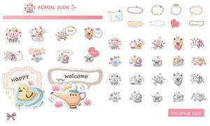 韩国可爱网页图标设计矢量素材