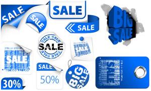 蓝色海报促销设计元素矢量素材