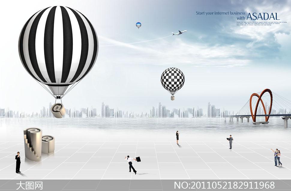 职场人物与热气球建筑物PSD分层素材