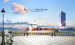 装载集装箱的货物轮船PSD分层素材