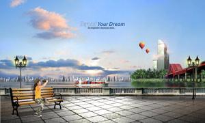 坐在长椅上的小孩与城市风光PSD分层素材