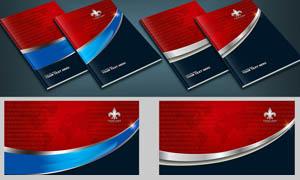 蓝红色画册封面设计PSD分层素材