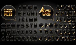 金色卷边英文字母字体设计矢量素材