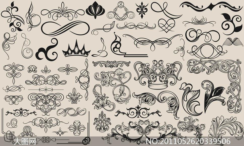 欧式华丽古典装饰花纹矢量素材