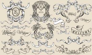 欧式古典装饰飘带矢量素材