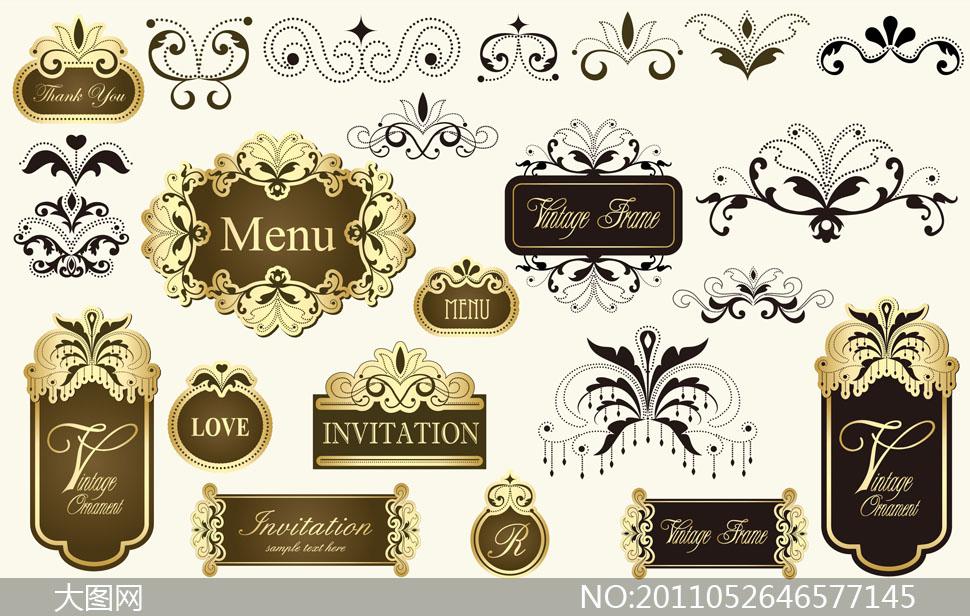 华丽欧式古典边框装饰花纹矢量素材