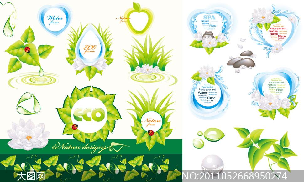 关键词: 矢量素材矢量图水珠水滴叶子植物绿叶圆形心形苹果边框瓢虫莲