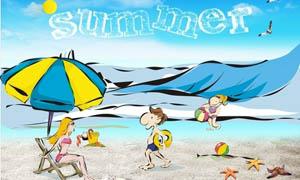 夏日沙滩卡通海报设计矢量素材