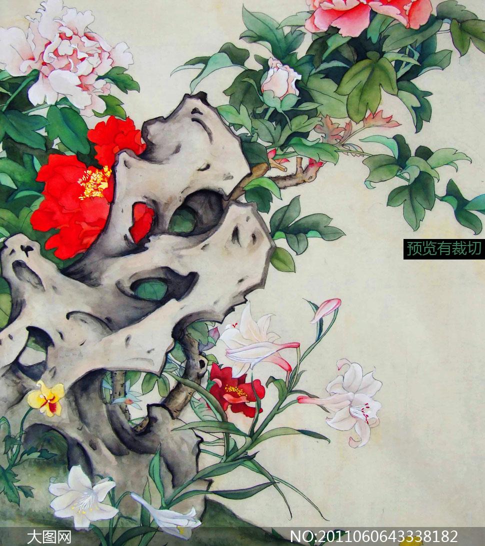 图片美术绘画牡丹花百合花工笔画中国画