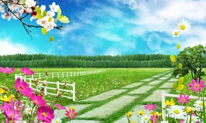 春天花卉草地小路树林PSD分层素材