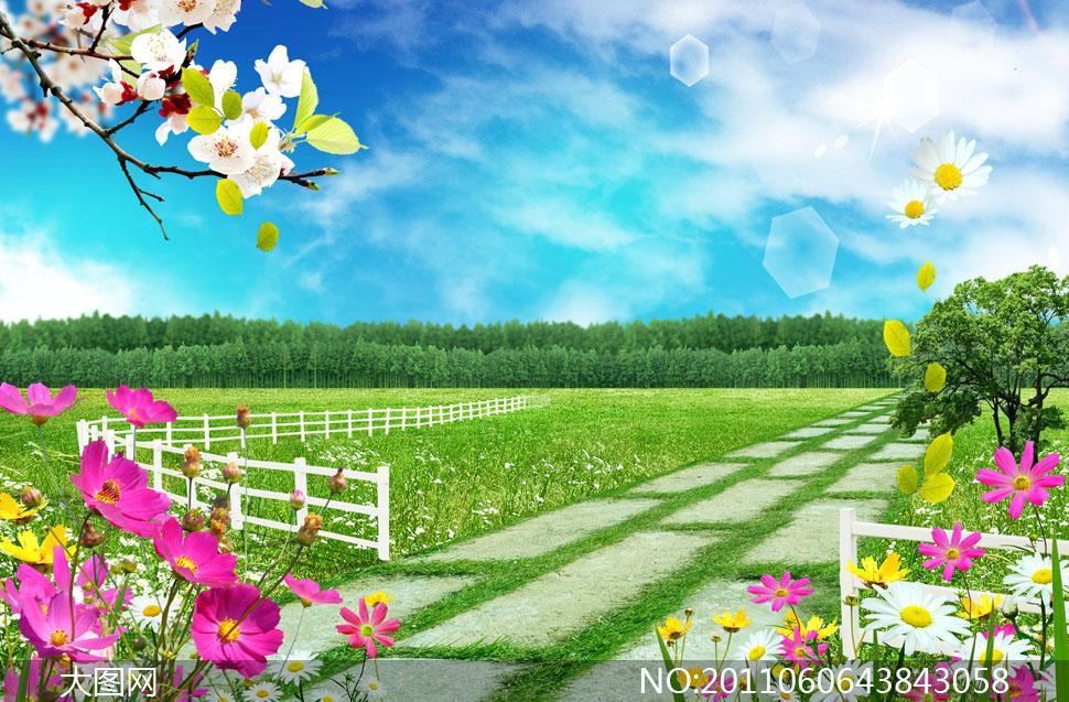 小路护栏栅栏篱笆花草春天大树树木绿树树林草地田园绿地鲜花花卉花朵
